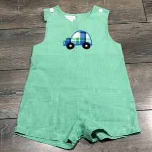 Petit Pomme Green & White Car Embroidered Overall